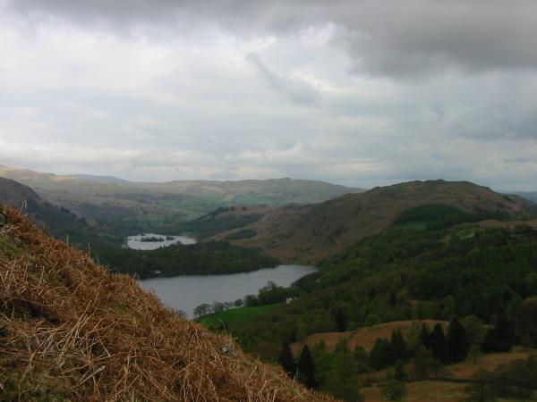 Rydal Water, Grasmere and Loughrigg Fell from the descent