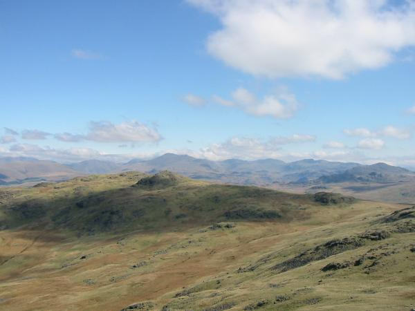 Looking over Yoadcastle to Scafell from Stainton Pike's summit