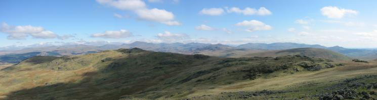 Yoadcastle and Hesk Fell with the Eskdale and Coniston Fells beyond from Stainton Pike's summit