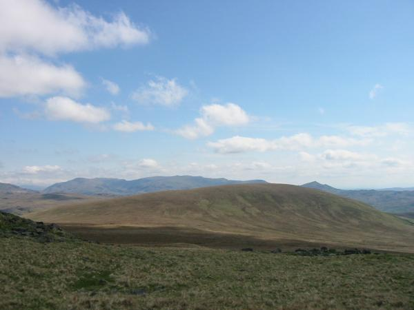 Hesk Fell with the Coniston Fells behind left and Caw behind right