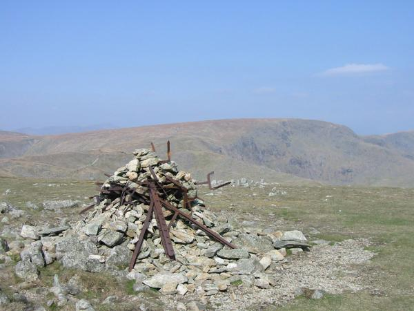 High Street from Harter Fell's distinctive summit cairn