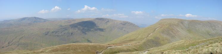 Red Screes, Caudale Moor and Thornthwaite Crag from the path up Froswick