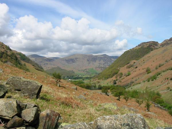 High Spy and Borrowdale from the ascent up by the wall