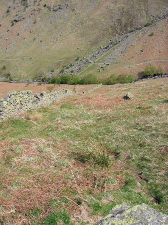 Looking back down the wall to Greenup Gill