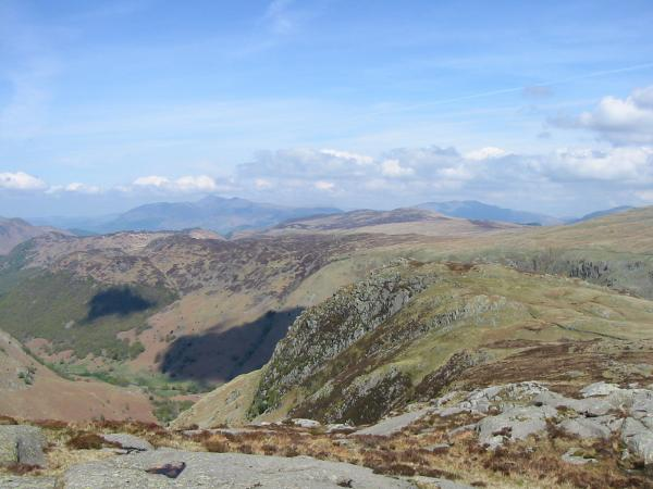 Eagle Crag with Skiddaw and Blencathra in the distance from Sergeant's Crag