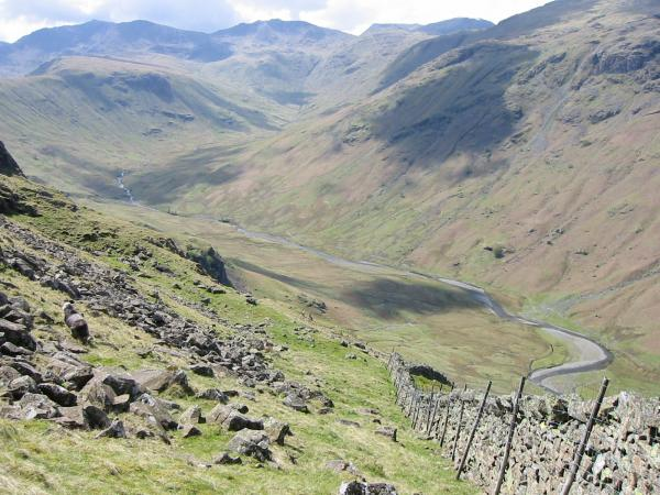 My descent route into Langstrath started by following this wall