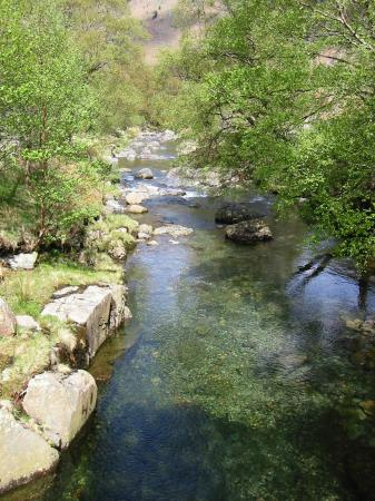 Langstrath Beck from the footbridge near Johnny House