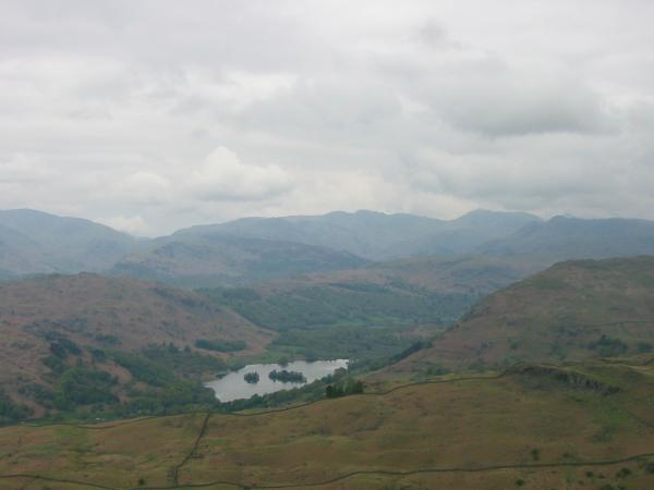 Rydal Water and the Langdales from Red Screes' southern ridge