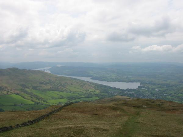 Looking back down the ridge to Windermere and Ambleside