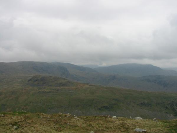 The view northwest from Middle Dodd's summit. Little Hart Crag, Dove Crag, Fairfield and Saint Sunday Crag