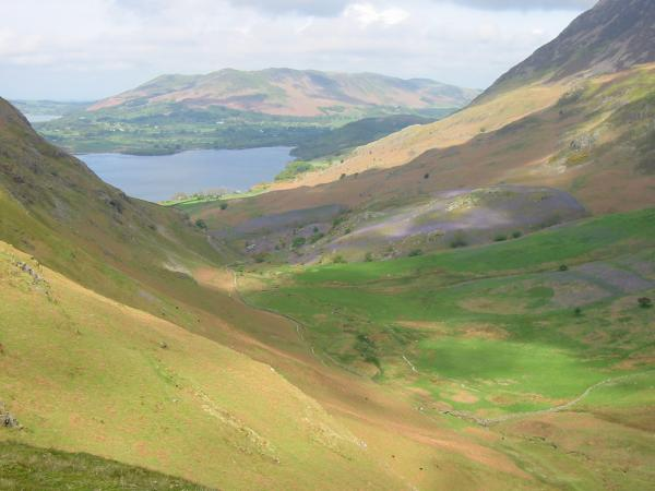 Looking down Rannerdale to Crummock Water and Low Fell