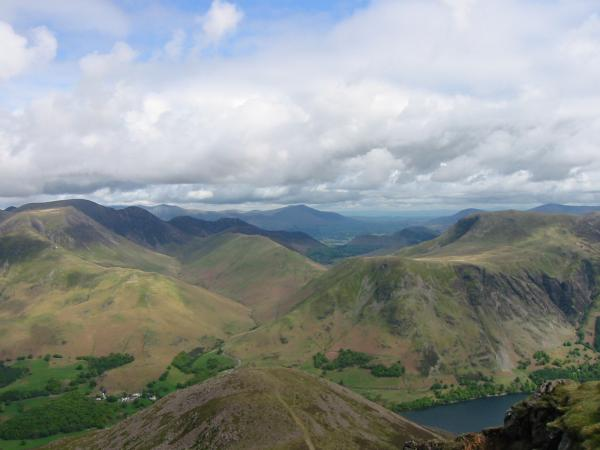 The view north to Blencathra from Red Pike's summit
