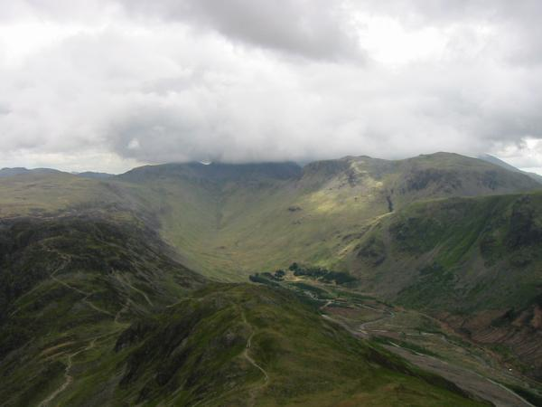 Upper Ennerdale with the top of Great Gable lost in cloud but Kirk Fell clear