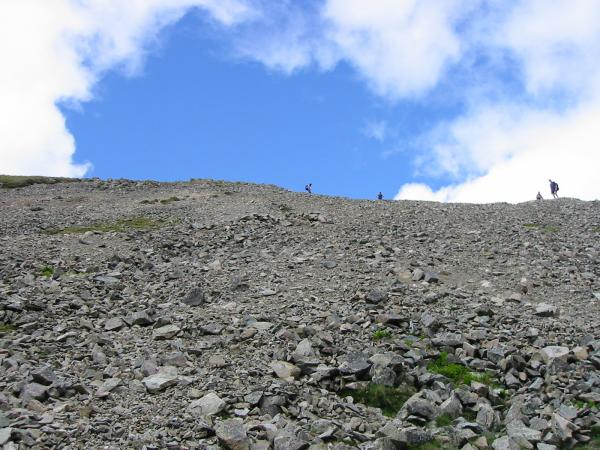 Looking back up the scree slope from our descent of Gamlin End