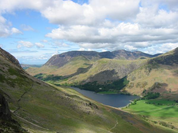 The Grasmoor Fells and Buttermere from above Scarth Gap