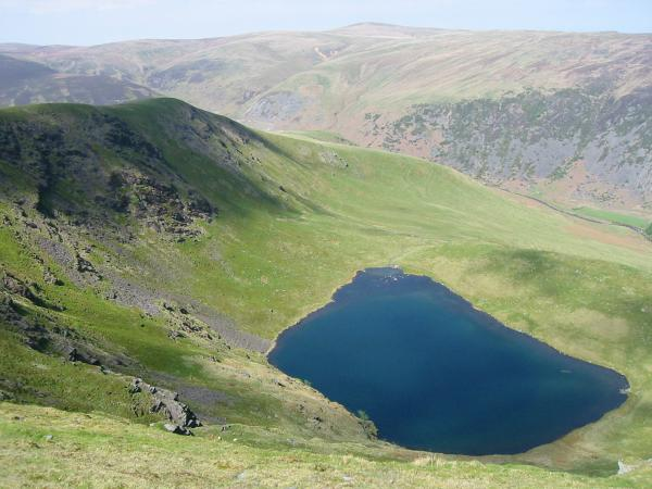 Bowscale Tarn. The high point on the skyline is High Pike