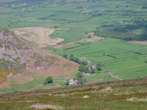 Looking down on the hamlet of Mosedale