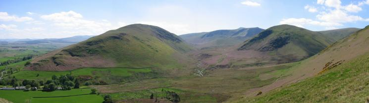 Souther Fell, River Glenderamackin, Bannerdale Crags and The Tongue