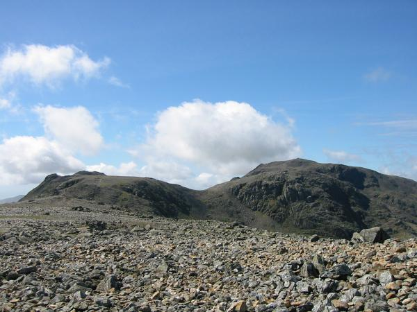 Ill Crag and Broad Crag with Scafell Pike behind from Great End's northwest summit cairn