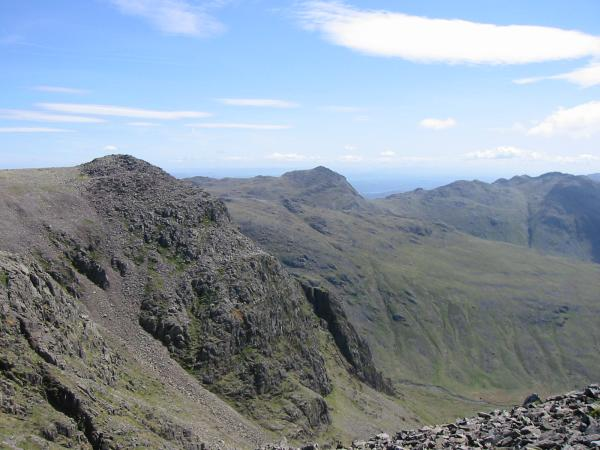 Ill Crag, Bowfell and Crinkle Crags from the ascent of Scafell Pike