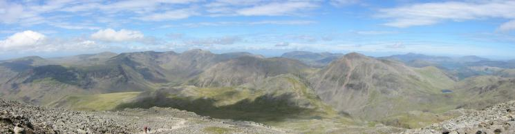 The Mosedale fells, Lingmell and Great Gable from Scafell Pike
