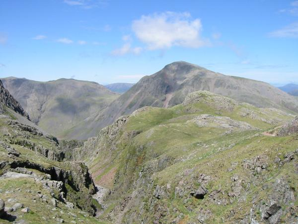 Middleboot Knotts with Great Gable behind from the top of Piers Gill
