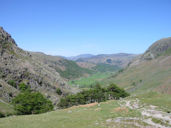 The view north down Borrowdale with Blencathra in the far distance from Greenhow Knott