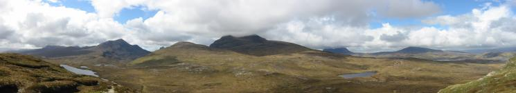 The mountains of Assynt and Coigach (Cul Beag, the top of Stac Pollaidh, Cul Mor, Suilven and Canisp)