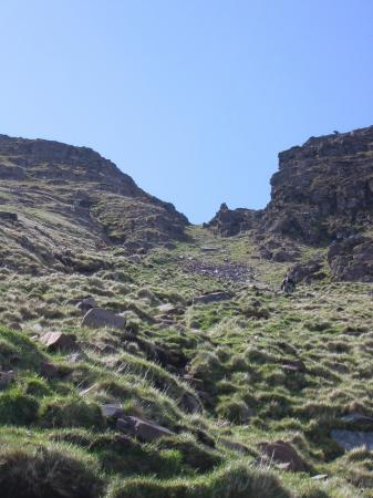 Looking up the gully. Its about 900ft from bottom to top, straight up but not difficult with a path to follow