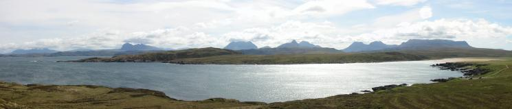 The mountains of Assynt and Coigach (Quinag, Suilven, Cul Mor, Stac Pollaidh, Cul Beag and Ben Mor Coigach) from Achnahaird Bay