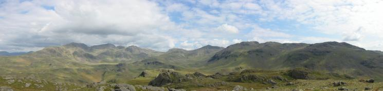 The Scafells, Esk Pike, Bowfell, Crinkle Crags and Little Stand from Hard Knott's summit