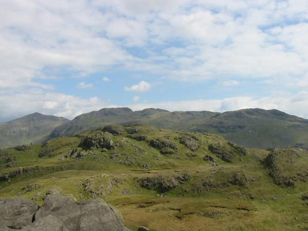 Hard Knott from Border End with Bowfell, Crinkle Crags and Little Stand behind