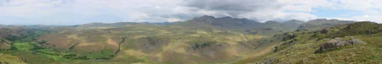Eskdale, the Scafells, Esk Pike, Bowfell and Crinkle Crags from Border End