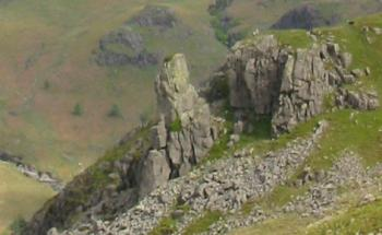 Zooming in on Eskdale Needle also called The Steeple