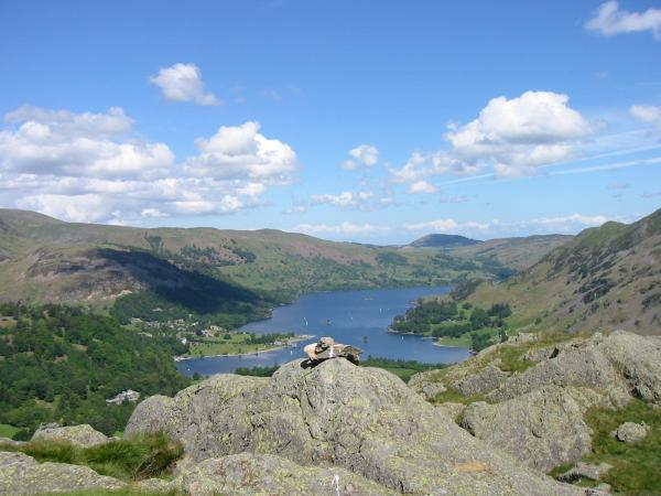 Ullswater with Great Mell Fell in the distance from Arnison Crag's summit