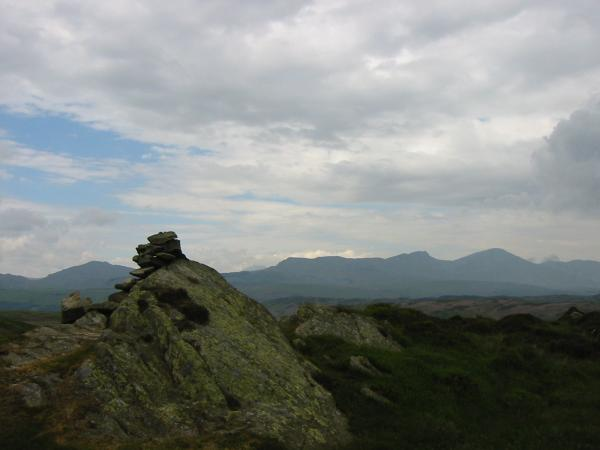 Caw and the Coniston Fells from Tottlebank Height's summit cairn