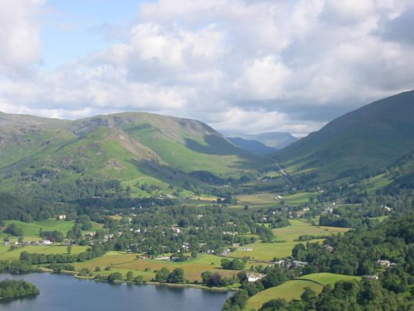 Helm Crag, Steel Fell, Grasmere village and Dunmail Raise