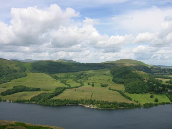 Looking north across Ullswater to Great and Little Mell Fells