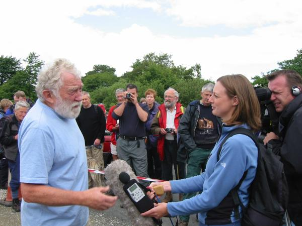 Professor David Bellamy being interviewed by the BBC