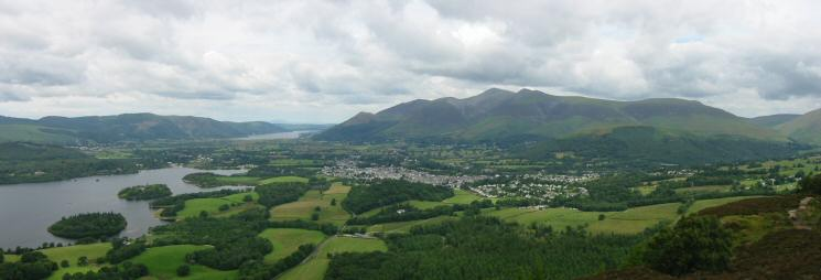 Derwent Water, Bassenthwaite Lake, The Vale of Keswick and the Skiddaw fells from Walla Crag's summit