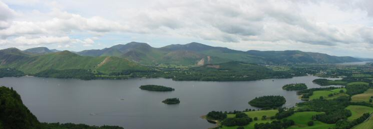 Looking across Derwent Water to the north western fells from Walla Crag's summit