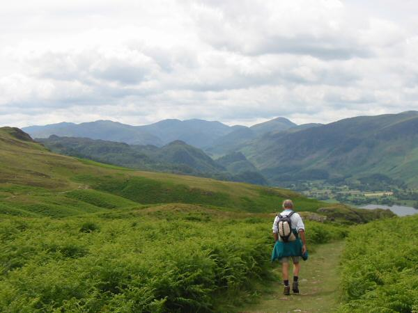 The view south up Borrowdale to Great End and Great Gable