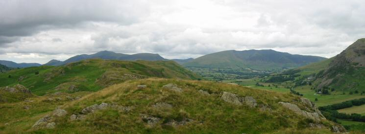 ...and the view north towards High Rigg's summit with the Skiddaw fells and Blencathra in the distance