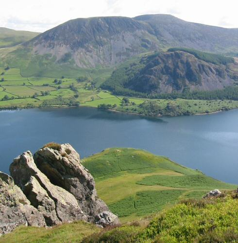 Looking across Ennerdale Water to Great Borne from the pinnacles