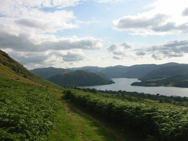 Looking back down the Howtown path to Hallin Fell and Ullswater's middle reach