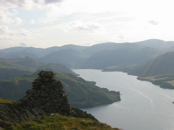 Ullswater and the Helvellyn ridge from the beacon, 250m northwest of Arthur's Pike summit