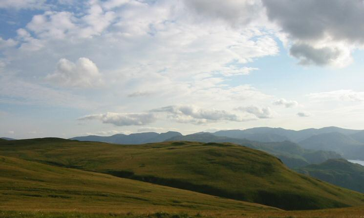 Bonscale Pike with Fairfield, Saint Sunday Crag and the Helvellyn ridge on the skyline