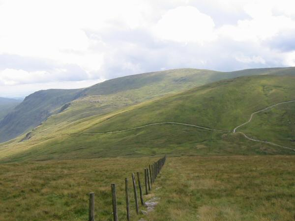 Looking back down the line of the fence to Gatescarth Pass. Kentmere Pike is the high point on the skyline