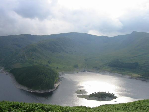 Looking across Haweswater to High Street and Riggindale
