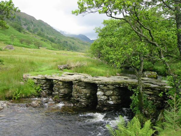 Slate bridge across Trout Beck